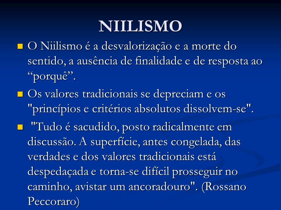 NIILISMO O Niilismo é a desvalorização e a morte do sentido, a ausência de finalidade e de resposta ao porquê .