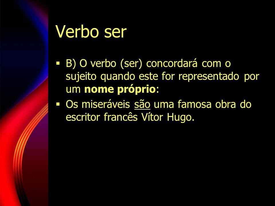 Verbo ser B) O verbo (ser) concordará com o sujeito quando este for representado por um nome próprio: