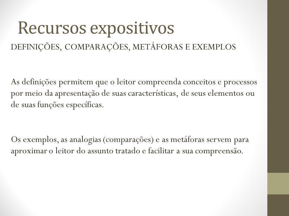 Recursos expositivos DEFINIÇÕES, COMPARAÇÕES, METÁFORAS E EXEMPLOS