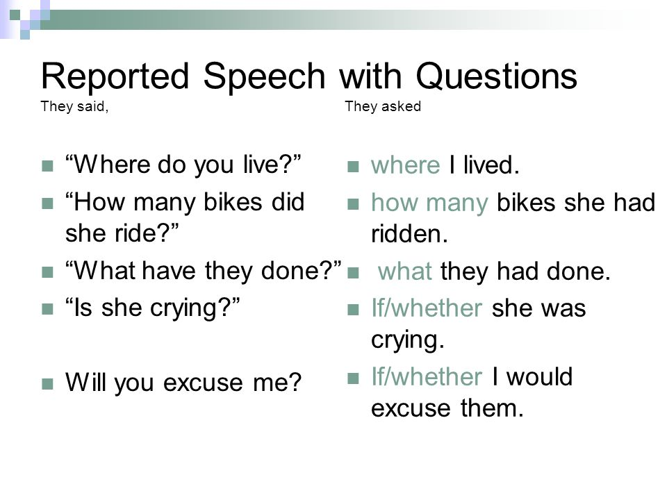 Reported Speech with Questions They said, They asked