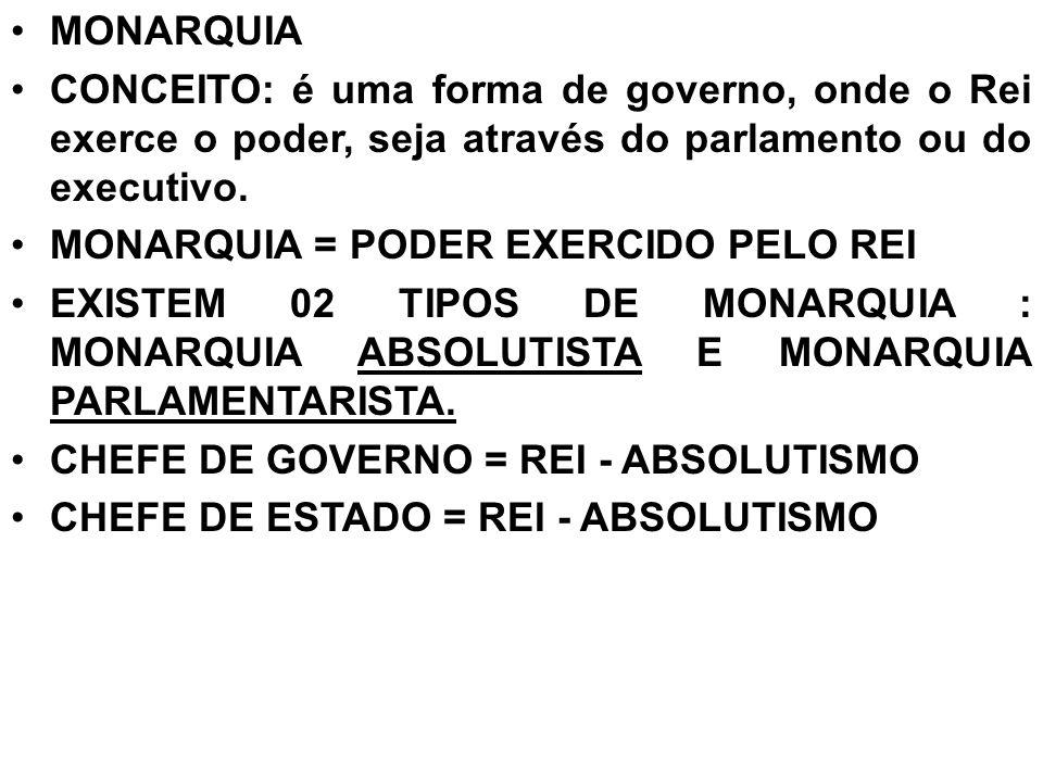MONARQUIA CONCEITO: é uma forma de governo, onde o Rei exerce o poder, seja através do parlamento ou do executivo.