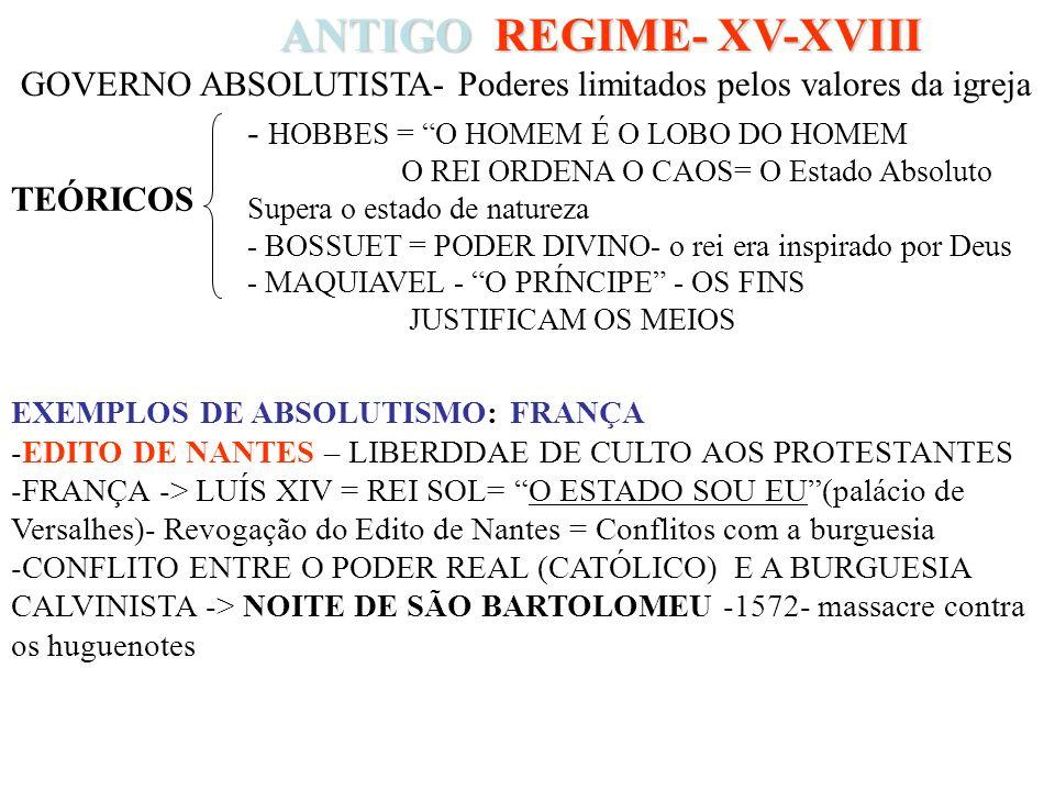 ANTIGO REGIME- XV-XVIII