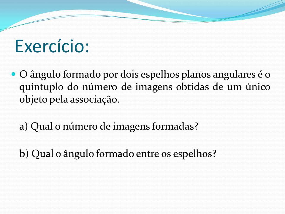 Exercício: O ângulo formado por dois espelhos planos angulares é o quíntuplo do número de imagens obtidas de um único objeto pela associação.