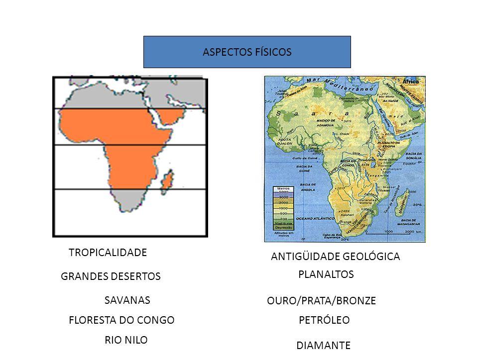 ASPECTOS FÍSICOS TROPICALIDADE. ANTIGÜIDADE GEOLÓGICA. GRANDES DESERTOS. PLANALTOS. SAVANAS. OURO/PRATA/BRONZE.