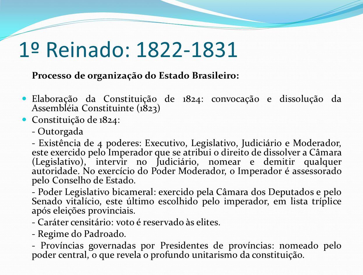 1º Reinado: 1822-1831 Processo de organização do Estado Brasileiro: