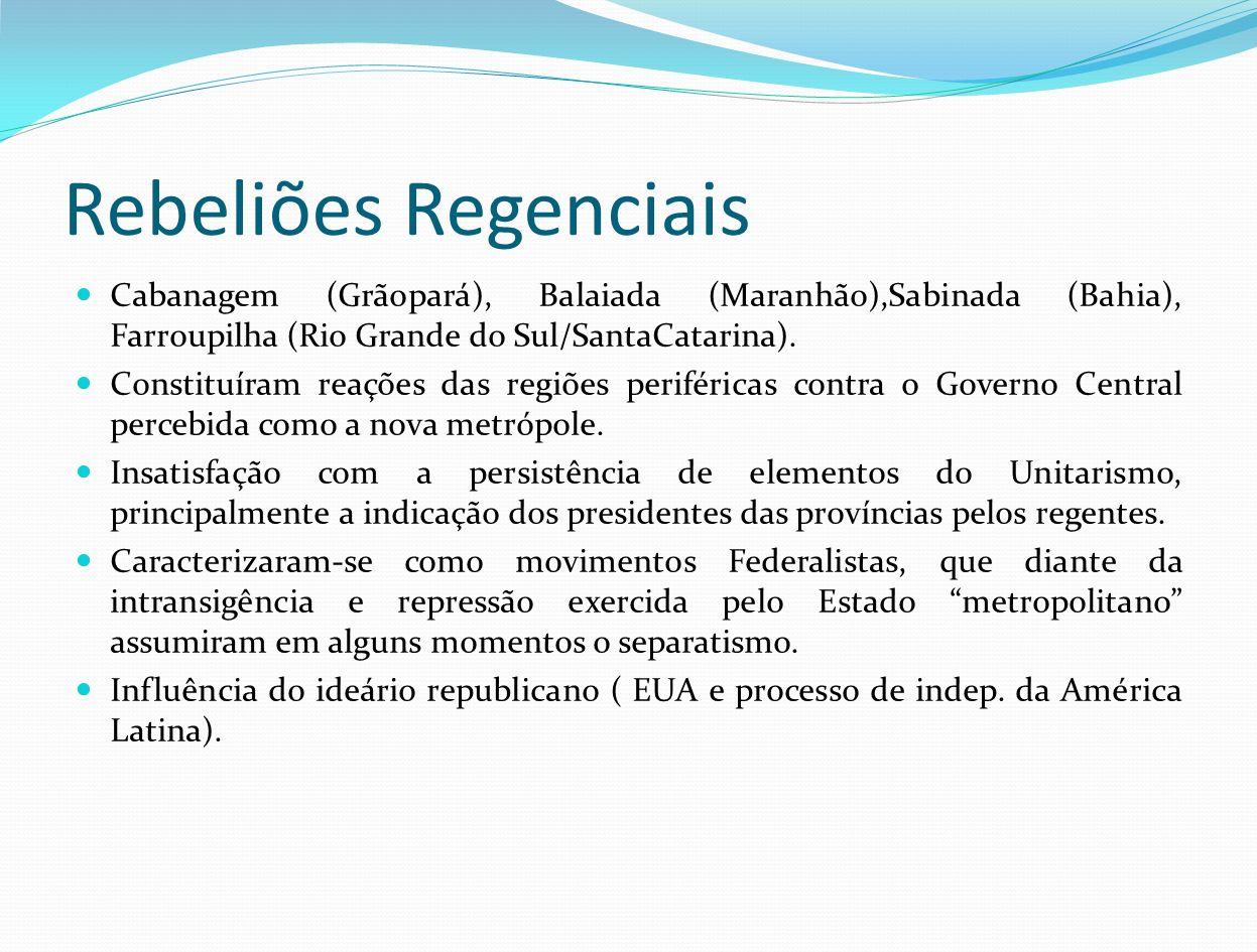 Rebeliões Regenciais Cabanagem (Grãopará), Balaiada (Maranhão),Sabinada (Bahia), Farroupilha (Rio Grande do Sul/SantaCatarina).