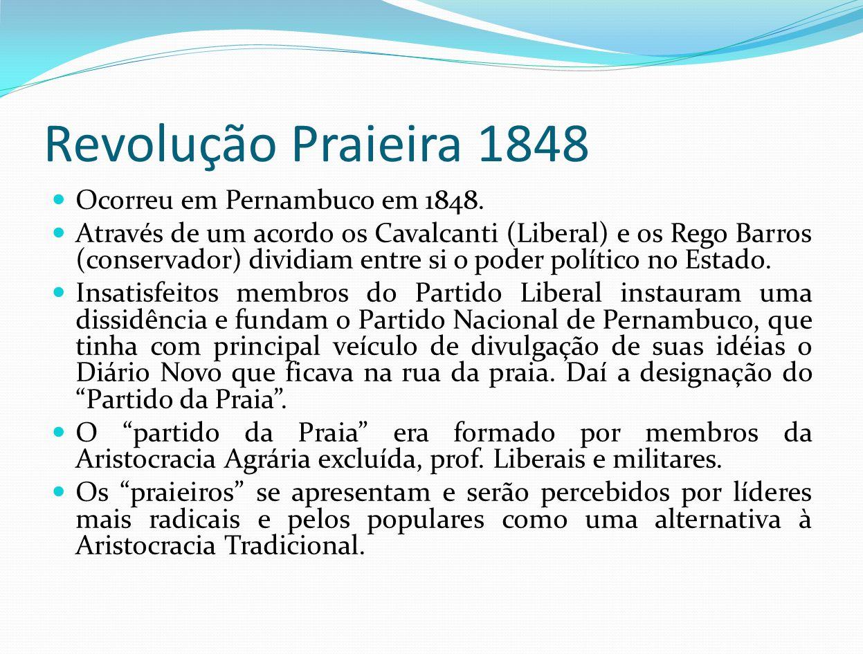 Revolução Praieira 1848 Ocorreu em Pernambuco em 1848.