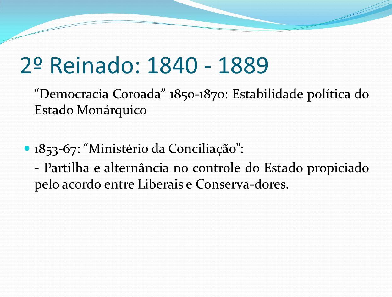 2º Reinado: 1840 - 1889 Democracia Coroada 1850-1870: Estabilidade política do Estado Monárquico.