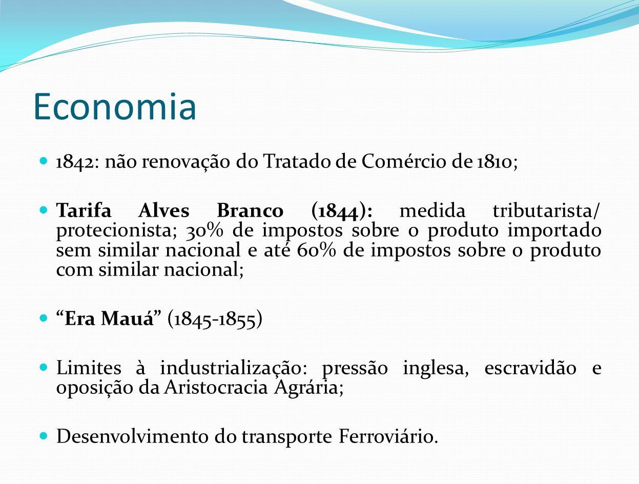 Economia 1842: não renovação do Tratado de Comércio de 1810;