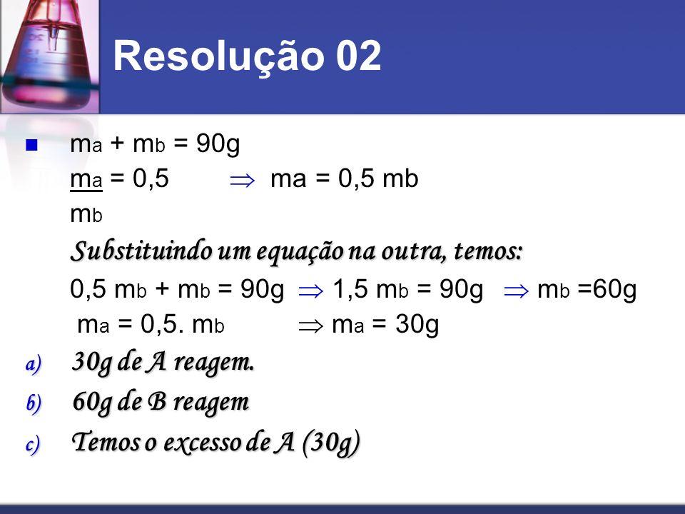 Resolução 02 30g de A reagem. 60g de B reagem
