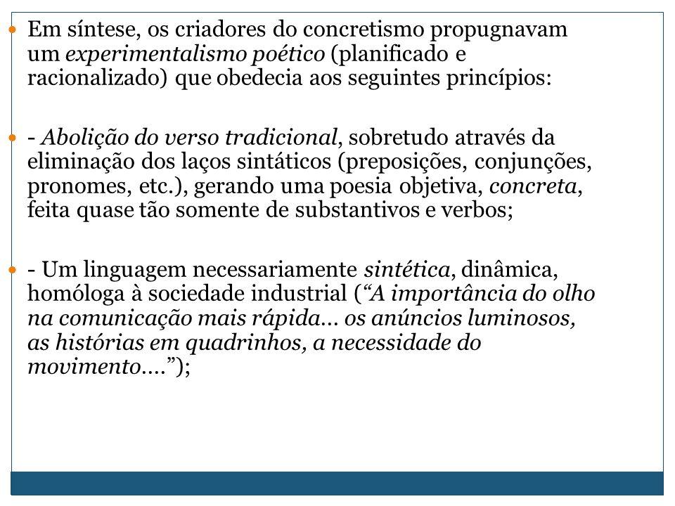 Em síntese, os criadores do concretismo propugnavam um experimentalismo poético (planificado e racionalizado) que obedecia aos seguintes princípios: