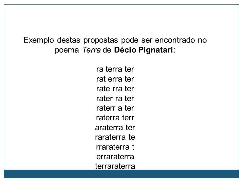 Exemplo destas propostas pode ser encontrado no poema Terra de Décio Pignatari: