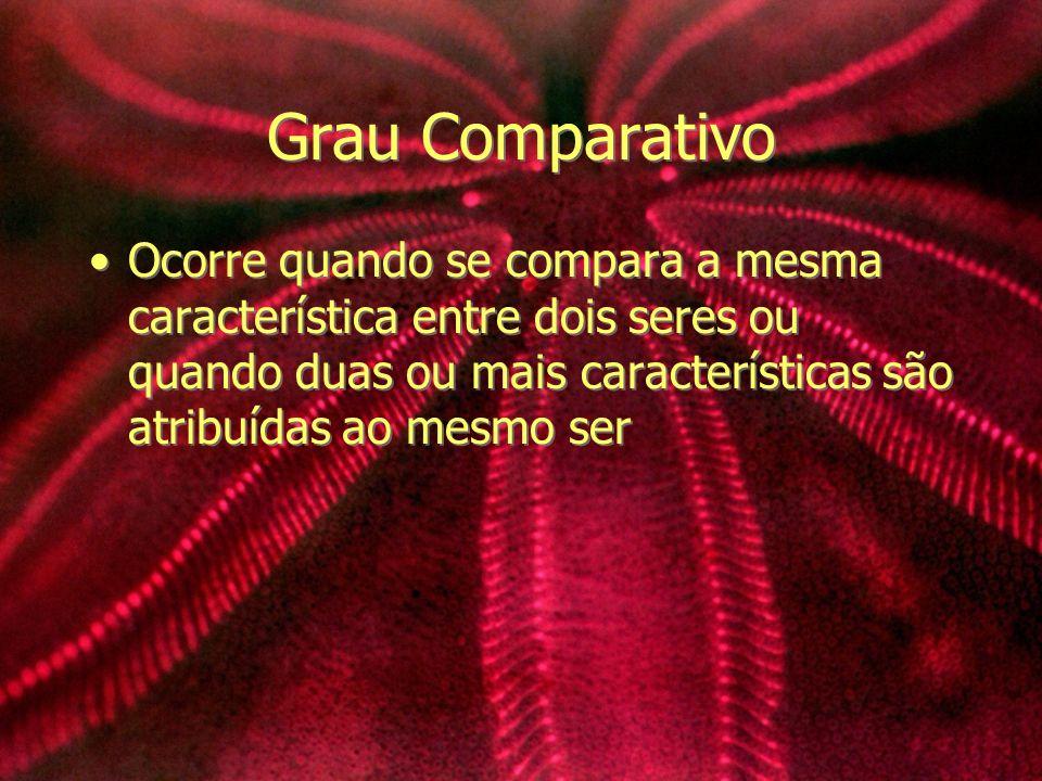 Grau Comparativo Ocorre quando se compara a mesma característica entre dois seres ou quando duas ou mais características são atribuídas ao mesmo ser.