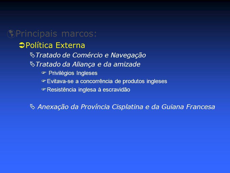 Principais marcos: Política Externa Tratado de Comércio e Navegação