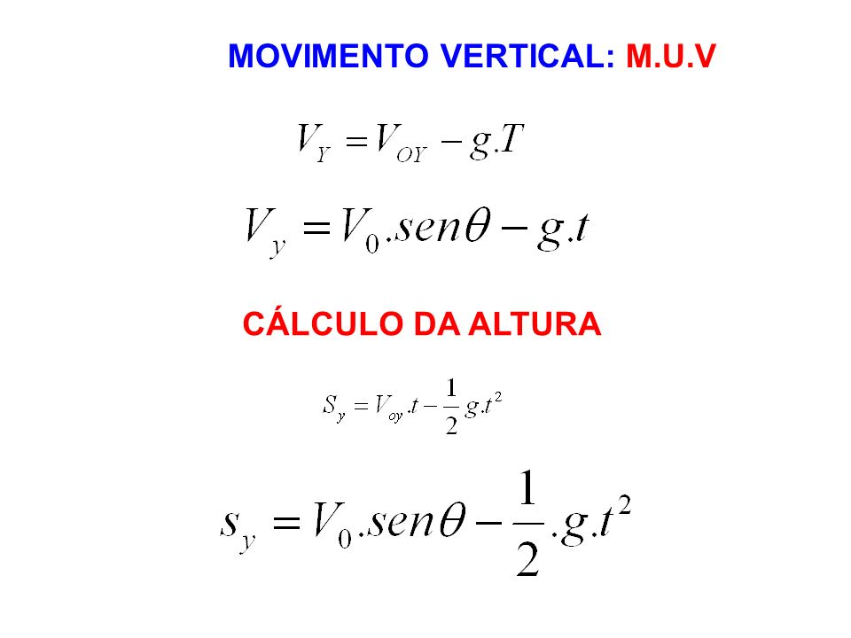 MOVIMENTO VERTICAL: M.U.V