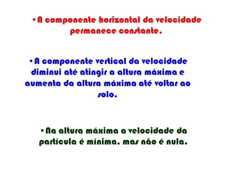 A componente horizontal da velocidade permanece constante.