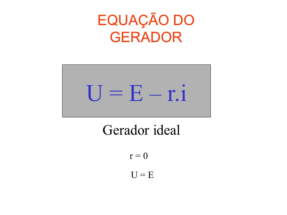EQUAÇÃO DO GERADOR U = E – r.i Gerador ideal r = 0 U = E