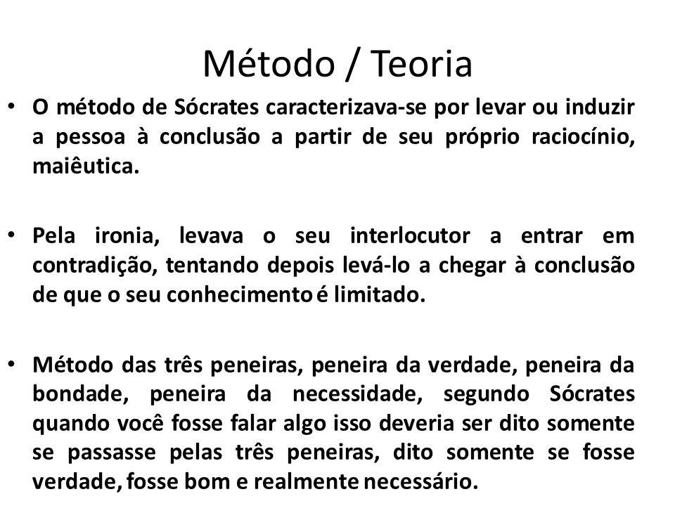 Método / Teoria O método de Sócrates caracterizava-se por levar ou induzir a pessoa à conclusão a partir de seu próprio raciocínio, maiêutica.