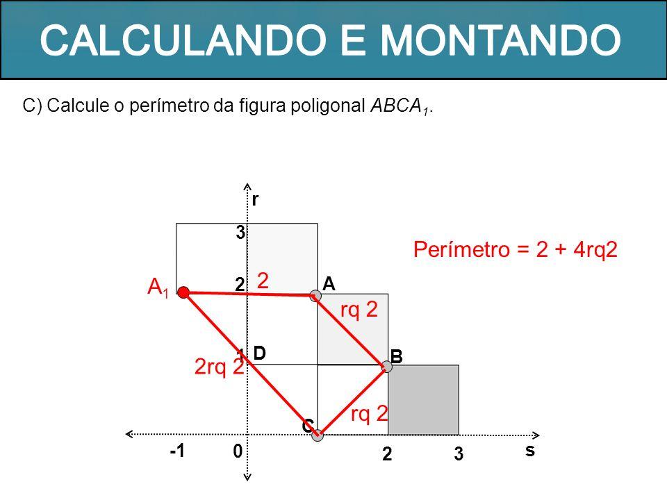 CALCULANDO E MONTANDO Perímetro = 2 + 4rq2 2 A1 rq 2 2rq 2 rq 2