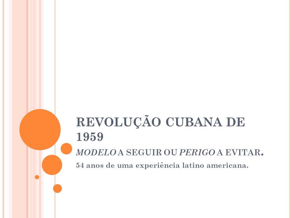 REVOLUÇÃO CUBANA DE 1959 MODELO A SEGUIR OU PERIGO A EVITAR.
