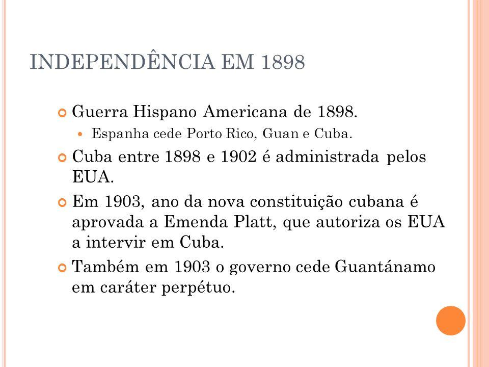 INDEPENDÊNCIA EM 1898 Guerra Hispano Americana de 1898.