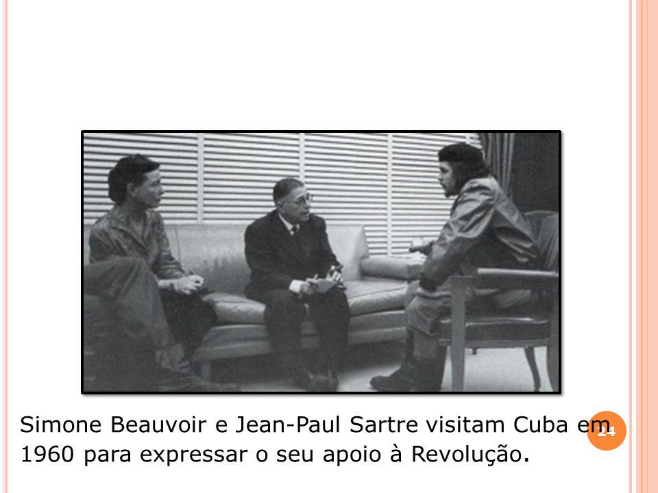 Simone Beauvoir e Jean-Paul Sartre visitam Cuba em 1960 para expressar o seu apoio à Revolução.
