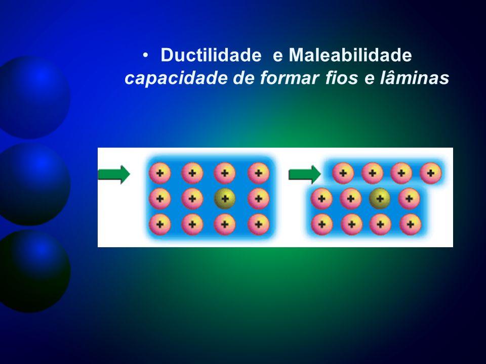Ductilidade e Maleabilidade capacidade de formar fios e lâminas
