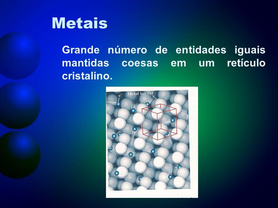 Metais Grande número de entidades iguais mantidas coesas em um retículo cristalino.