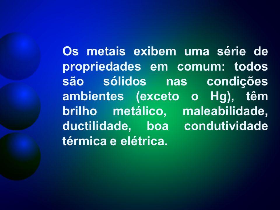 Os metais exibem uma série de propriedades em comum: todos são sólidos nas condições ambientes (exceto o Hg), têm brilho metálico, maleabilidade, ductilidade, boa condutividade térmica e elétrica.