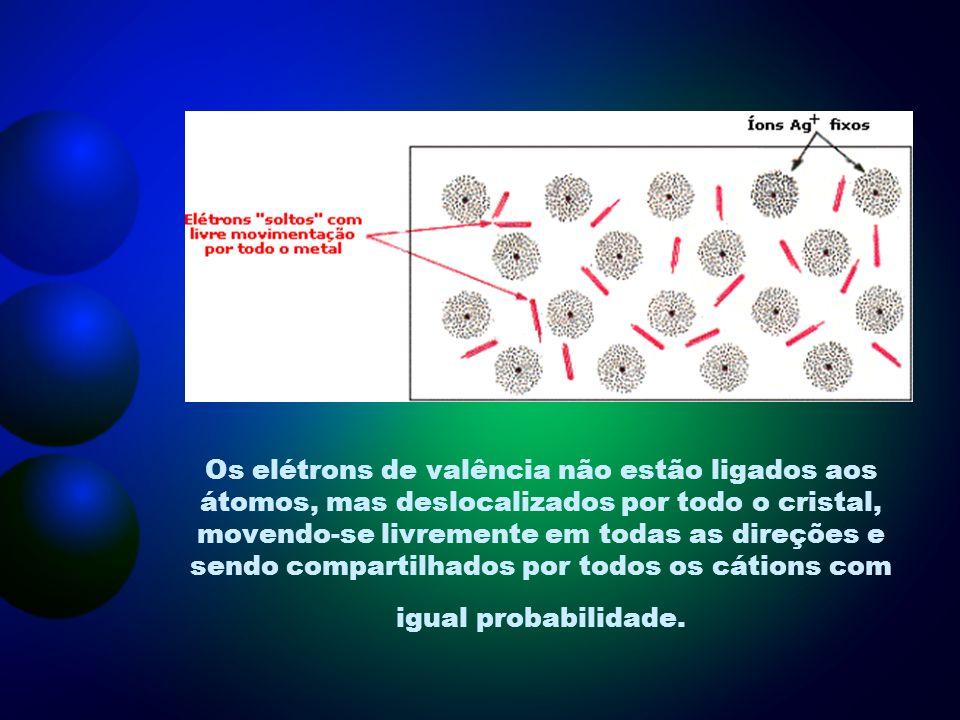 Os elétrons de valência não estão ligados aos átomos, mas deslocalizados por todo o cristal, movendo-se livremente em todas as direções e sendo compartilhados por todos os cátions com igual probabilidade.
