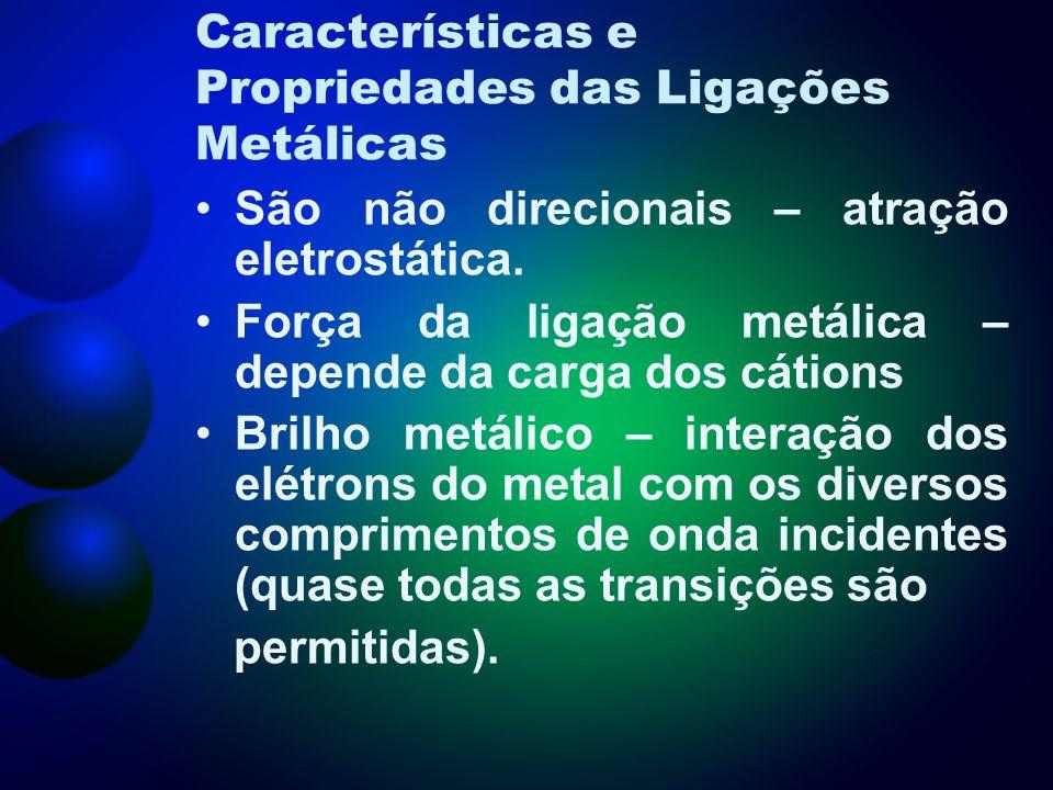 Características e Propriedades das Ligações Metálicas