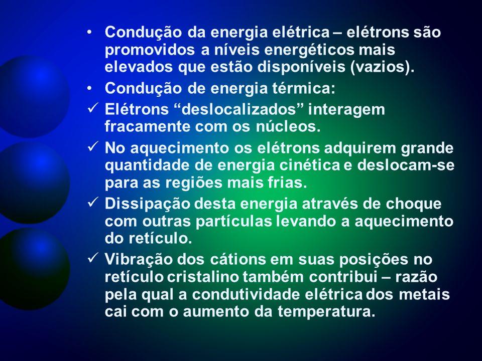 Condução da energia elétrica – elétrons são promovidos a níveis energéticos mais elevados que estão disponíveis (vazios).