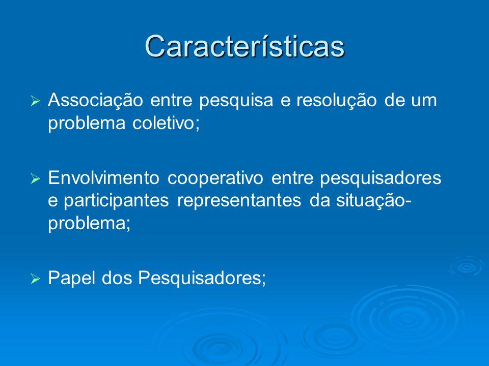 Características Associação entre pesquisa e resolução de um problema coletivo;