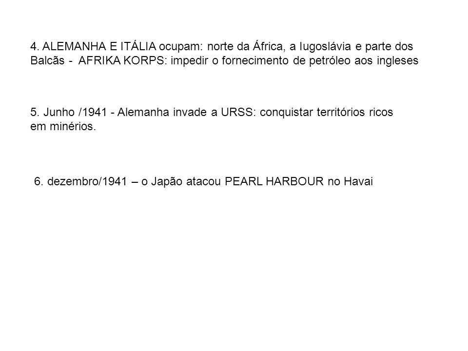 4. ALEMANHA E ITÁLIA ocupam: norte da África, a Iugoslávia e parte dos Balcãs - AFRIKA KORPS: impedir o fornecimento de petróleo aos ingleses