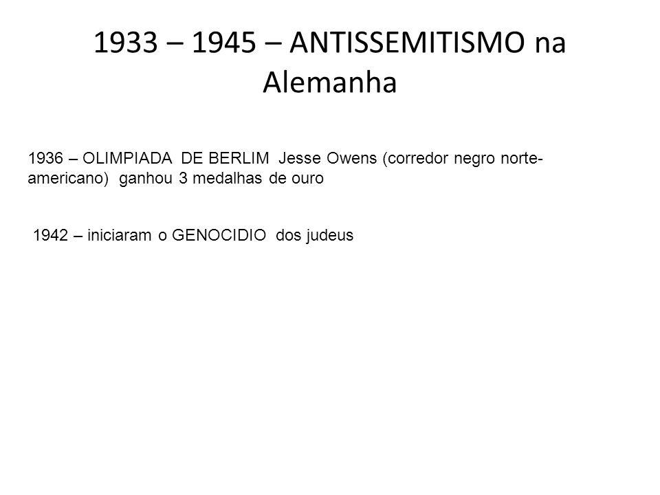 1933 – 1945 – ANTISSEMITISMO na Alemanha
