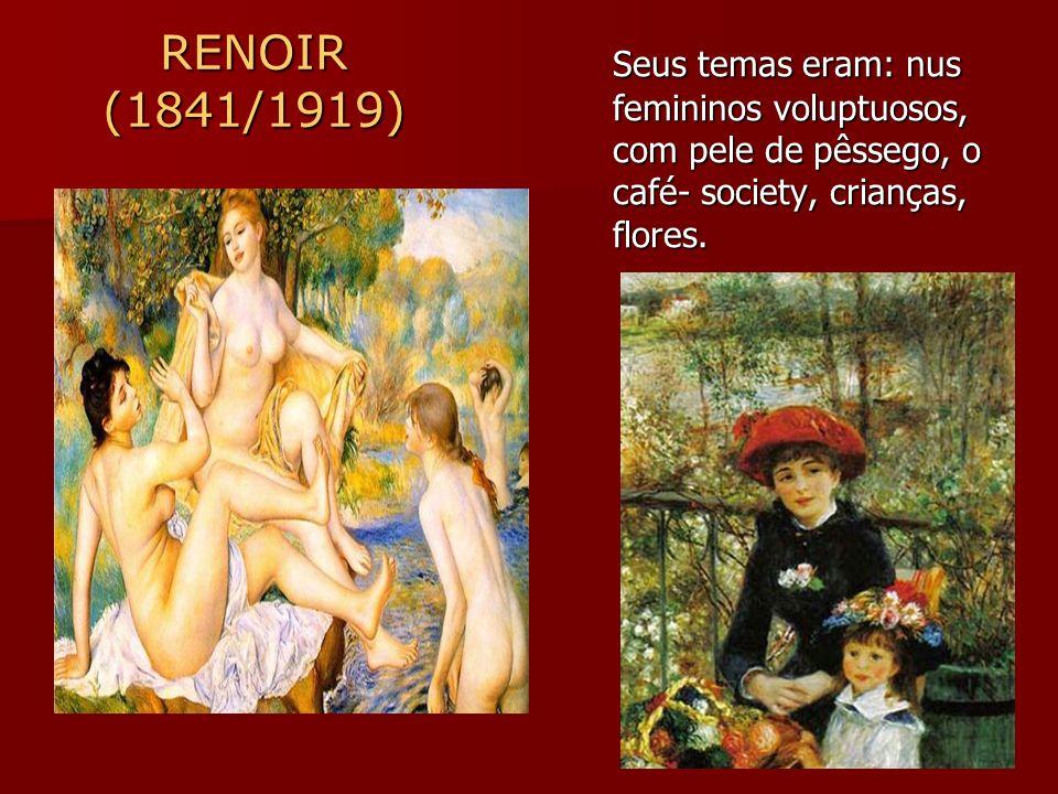 Seus temas eram: nus femininos voluptuosos, com pele de pêssego, o café- society, crianças, flores.