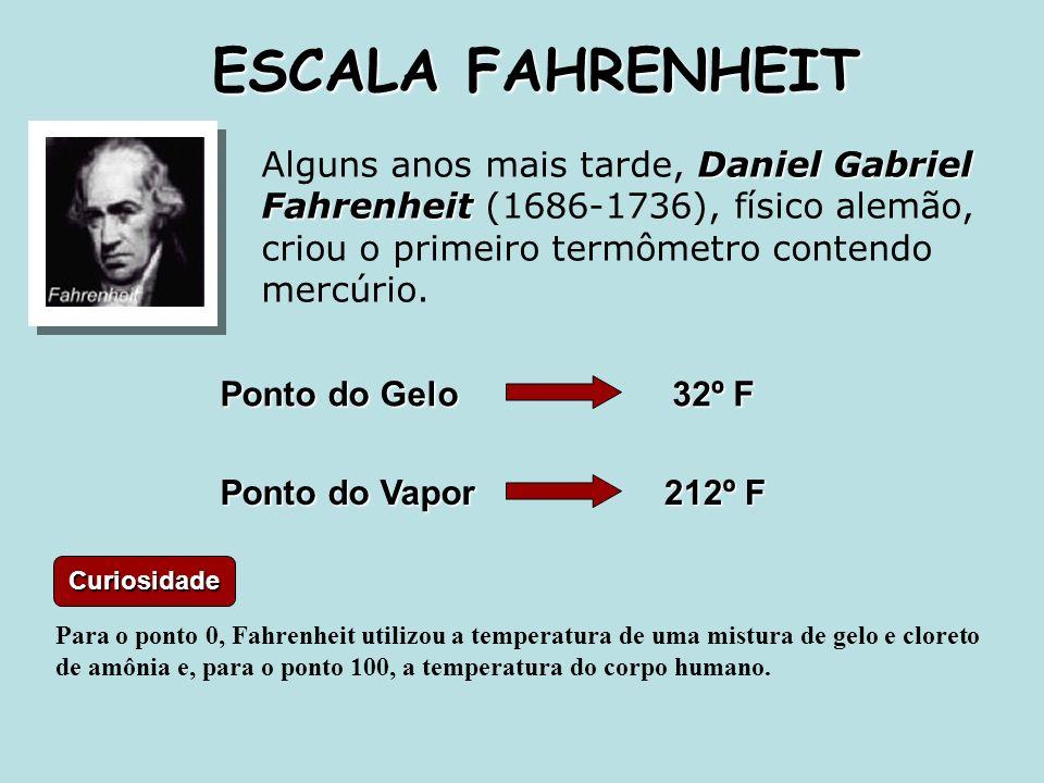 ESCALA FAHRENHEIT Alguns anos mais tarde, Daniel Gabriel Fahrenheit (1686-1736), físico alemão, criou o primeiro termômetro contendo mercúrio.