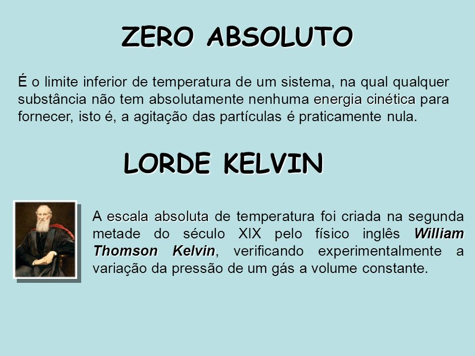 ZERO ABSOLUTO LORDE KELVIN