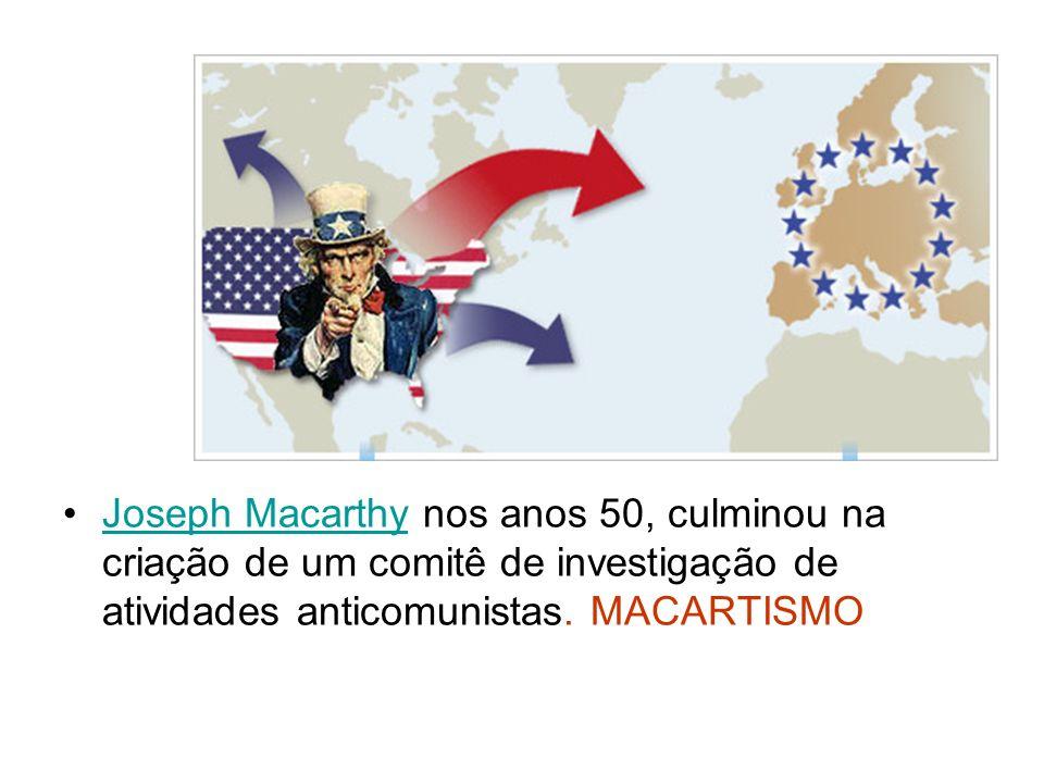 Joseph Macarthy nos anos 50, culminou na criação de um comitê de investigação de atividades anticomunistas.