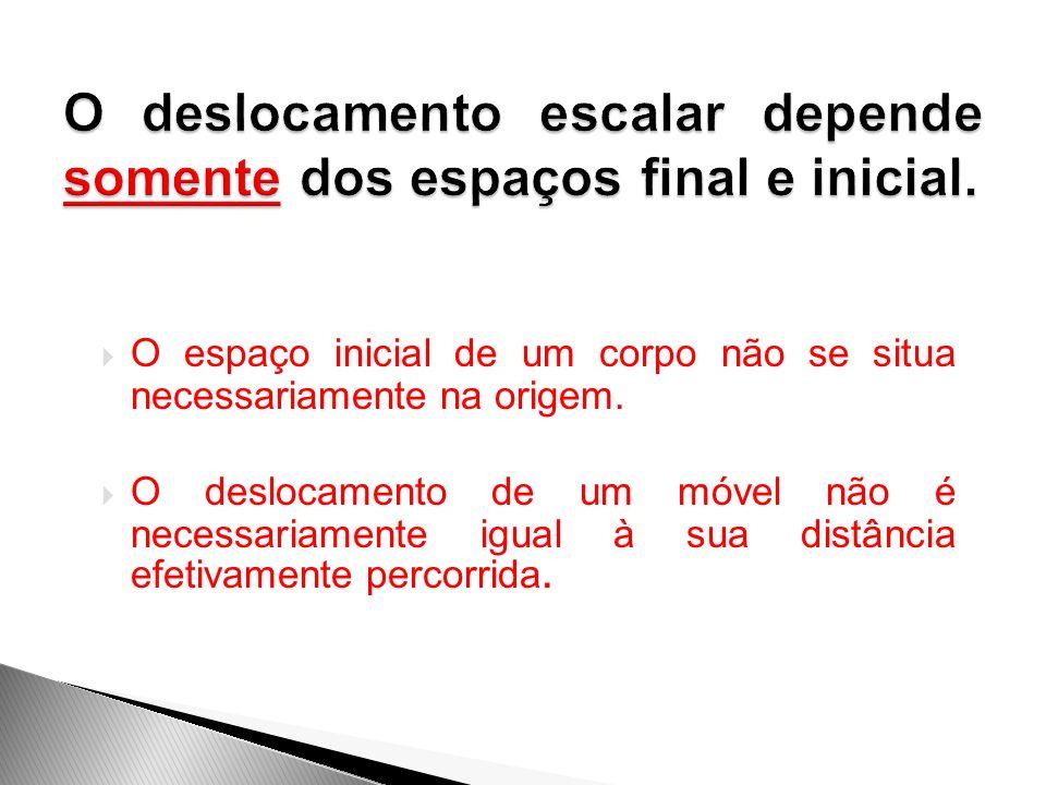 O deslocamento escalar depende somente dos espaços final e inicial.