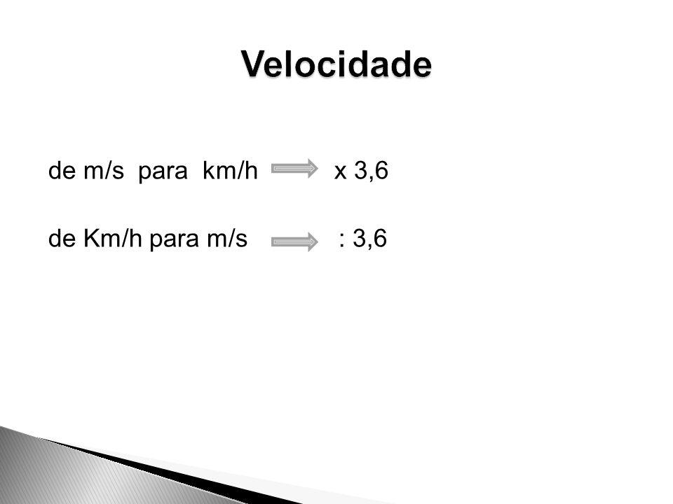 Velocidade de m/s para km/h x 3,6 de Km/h para m/s : 3,6