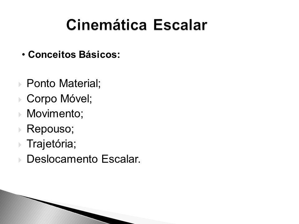 Cinemática Escalar Ponto Material; Corpo Móvel; Movimento; Repouso;