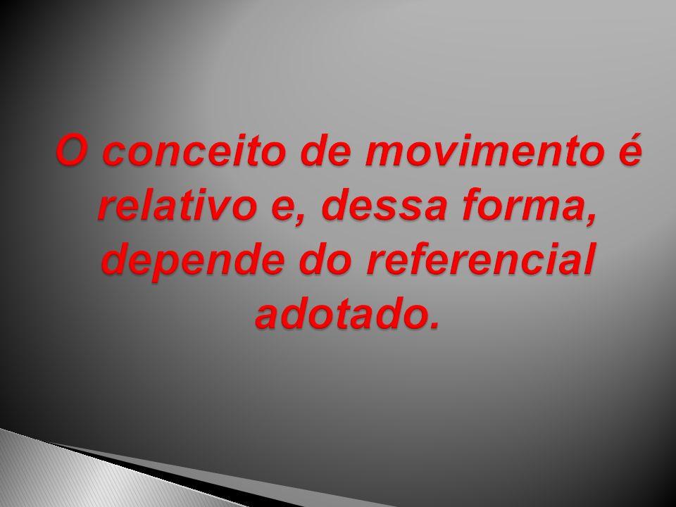 O conceito de movimento é relativo e, dessa forma, depende do referencial adotado.