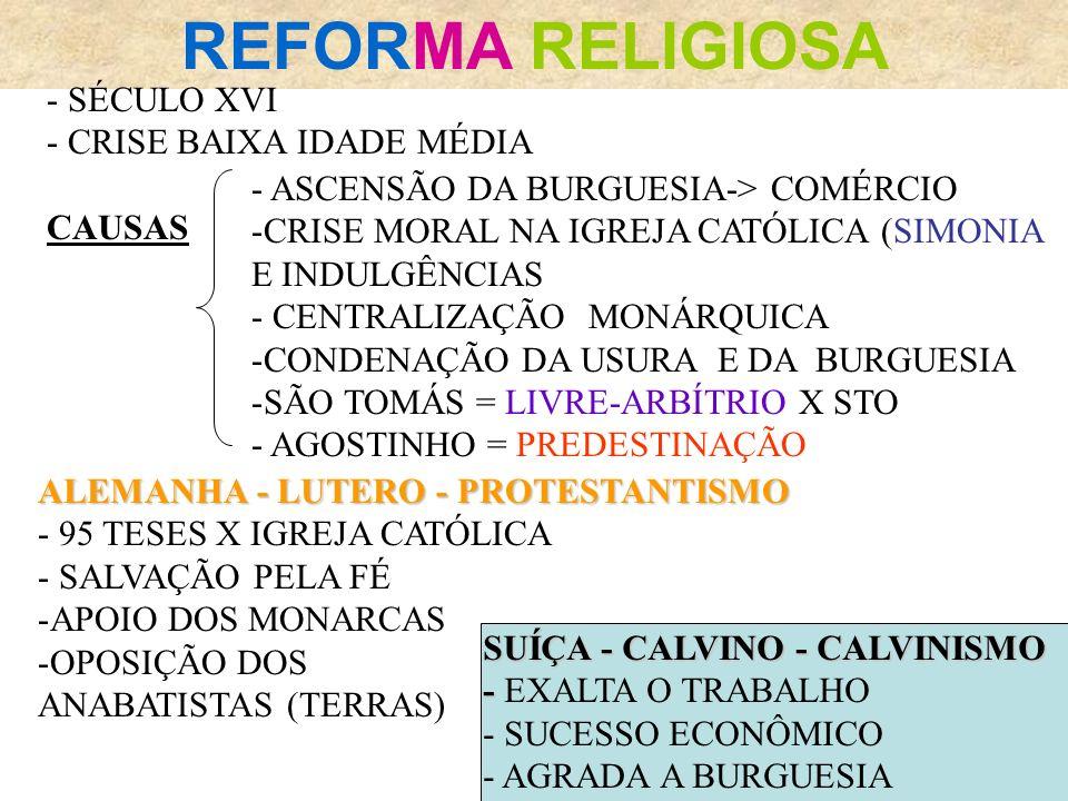 REFORMA RELIGIOSA - SÉCULO XVI - CRISE BAIXA IDADE MÉDIA CAUSAS