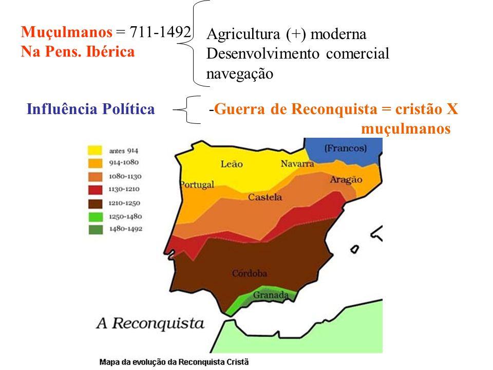 Muçulmanos = 711-1492 Na Pens. Ibérica. Agricultura (+) moderna. Desenvolvimento comercial. navegação.