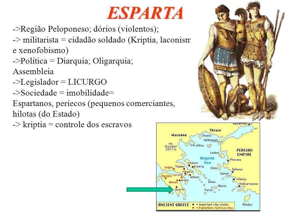 ESPARTA ->Região Peloponeso; dórios (violentos);