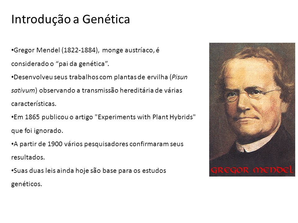 Introdução a Genética Gregor Mendel (1822-1884), monge austríaco, é considerado o pai da genética .