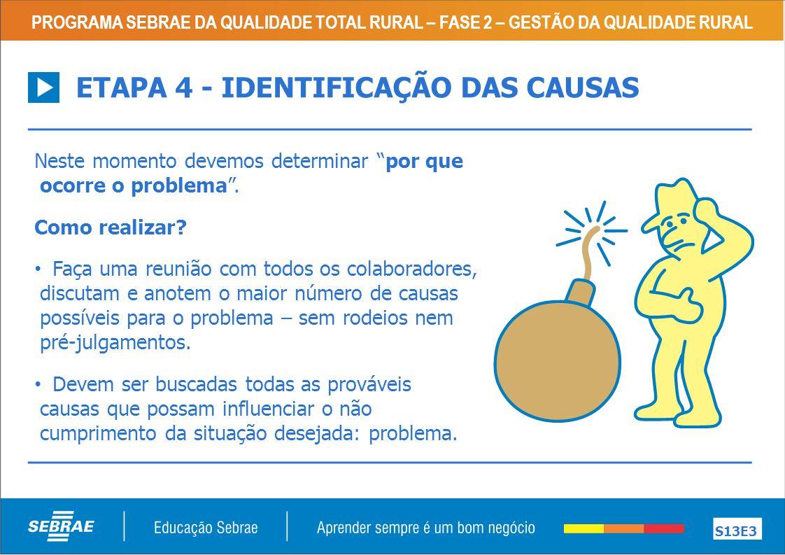 ETAPA 4 - IDENTIFICAÇÃO DAS CAUSAS