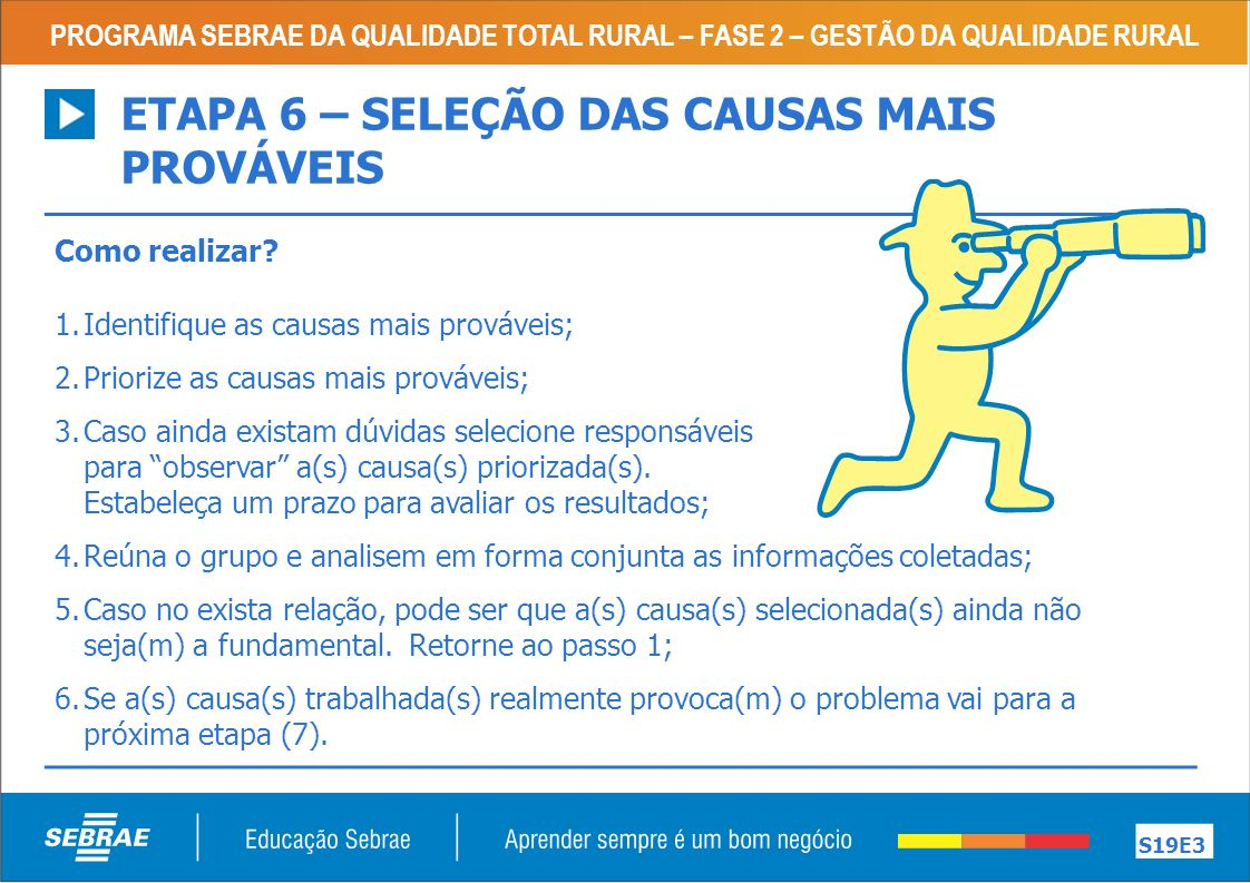 ETAPA 6 – SELEÇÃO DAS CAUSAS MAIS PROVÁVEIS