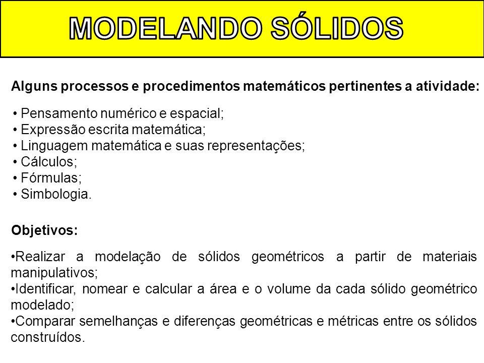 MODELANDO SÓLIDOS Alguns processos e procedimentos matemáticos pertinentes a atividade: Pensamento numérico e espacial;